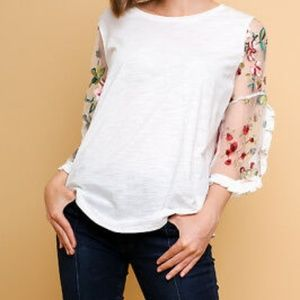 Womens Slub Knit Top Floral Sheer Sleeves Large